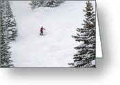Winter Sports Photo Greeting Cards - Skiing in Colorado Greeting Card by Brendan Reals