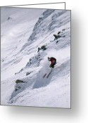 Peak One Greeting Cards - Skiing The Tram And Lone Peak Greeting Card by Bobby Model