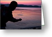 Circle Photo Greeting Cards - Skipping Stones Greeting Card by Justin Albrecht