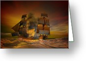 Ships Greeting Cards - Skirmish Greeting Card by Carol and Mike Werner