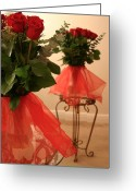 Tulle Greeting Cards - Skirted Roses in Mirror Greeting Card by Kristin Elmquist
