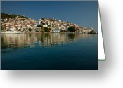 Skopelos Greeting Cards - Skopelos Town Greeting Card by Neil Buchan-Grant