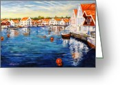 Carol Allen Anfinsen Greeting Cards - Skudeneshavn Norway Greeting Card by Carol Allen Anfinsen