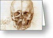Vinci Greeting Cards - Skull Anatomy By Leonardo Da Vinci Greeting Card by Sheila Terry