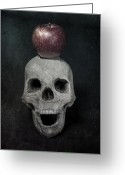 Sinister Greeting Cards - Skull And Apple Greeting Card by Joana Kruse