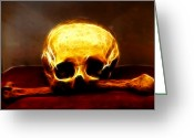 Surreal Fantasy Gothic Church Greeting Cards - Skull and Bones Greeting Card by Mariola Bitner