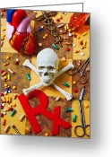 Pills Greeting Cards - Skull and bones with medical icons Greeting Card by Garry Gay
