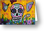 Cartera Greeting Cards - Skull And Butterflies Greeting Card by Pristine Cartera Turkus
