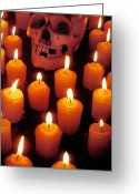 Teeth Greeting Cards - Skull and candles Greeting Card by Garry Gay