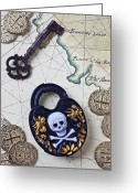 Maps Greeting Cards - Skull and cross bones lock Greeting Card by Garry Gay
