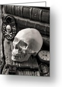 Things Greeting Cards - Skull and skeleton key Greeting Card by Garry Gay