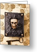 Coin Greeting Cards - Skull box with skeleton key Greeting Card by Garry Gay
