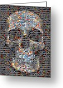 Heart Collage Greeting Cards - Skull Greeting Card by Boy Sees Hearts