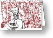 Bodies Greeting Cards - Skull Cook Greeting Card by Aloysius Patrimonio