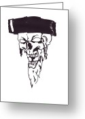 Rabbi Greeting Cards - Skull-ena Rebbe Greeting Card by Anshie Kagan