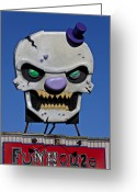 Teeth Greeting Cards - Skull Fun House Sign Greeting Card by Garry Gay