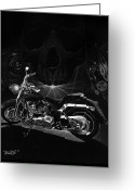 Motorcycle Art Greeting Cards - Skull Harley Greeting Card by Tim Dangaran