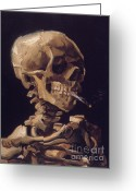 Van Painting Greeting Cards - Skull of a Skeleton with a Burning Cigarette Greeting Card by Extrospection Art