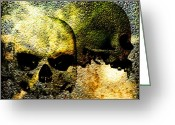 Vampire Greeting Cards - Skull of the Vampire Greeting Card by Bob Orsillo