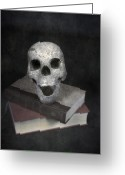 Sinister Greeting Cards - Skull On Books Greeting Card by Joana Kruse