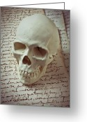 Teeth Greeting Cards - Skull on old letters Greeting Card by Garry Gay
