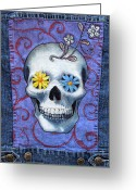 Denim Jacket Greeting Cards - Skull with Daisies 2 Greeting Card by Johanna Uribes