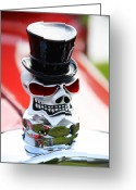 Hotrod Photo Greeting Cards - Skull with top hat hood ornament Greeting Card by Garry Gay