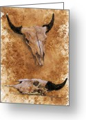 Buffalo Drawings Greeting Cards - Skulls Greeting Card by Debra Jones