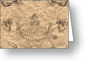 Ghostly Greeting Cards - Skulls In Grunge Style Greeting Card by Michal Boubin