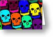 Howl Greeting Cards - Skulls Greeting Card by Jame Hayes