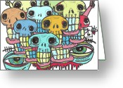 Lowbrow Mixed Media Greeting Cards - Skullz Greeting Card by Robert Wolverton Jr