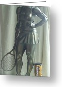 Sport Sculpture Greeting Cards - Skupture Tennis Player Greeting Card by Zlatan Stoilov