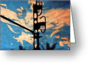 Barcelona Mixed Media Greeting Cards - Sky - Travel serigraphic art Greeting Card by Arte Venezia