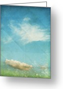 Paper Mixed Media Greeting Cards - Sky And Cloud On Old Grunge Paper Greeting Card by Setsiri Silapasuwanchai