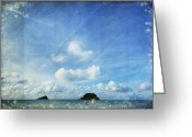 Old Wall Greeting Cards - Sky And Cloud On Old Paper Greeting Card by Setsiri Silapasuwanchai