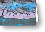 Abstract Greeting Cards - Sky Blue and Pink Greeting Card by Kimberly Gonzales
