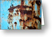 Blue Greeting Cards - Sky Blue and Rust Greeting Card by Kimberly Gonzales
