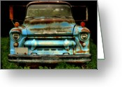 Old Chevrolet Truck Greeting Cards - Sky Blue and Still Cool Greeting Card by Thomas Young