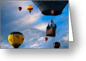 Great Falls Greeting Cards - Sky Caravan Hot Air Balloons Greeting Card by Bob Orsillo