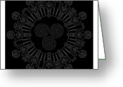 Aztec Greeting Cards - Sky Chief Inverse Greeting Card by Dean Caminiti