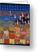 Wall Quilt Tapestries - Textiles Greeting Cards - Sky Dancers Greeting Card by Roberta Baker