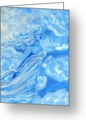 Blue Sculpture Greeting Cards - Sky Goddess Greeting Card by Cassandra Geernaert