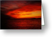 Eavning Greeting Cards - Sky in flames Greeting Card by Yuriy Klimanov