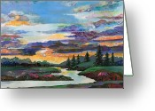 Dusk Mixed Media Greeting Cards - Sky Oasis Greeting Card by Marty Husted