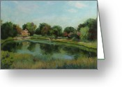 Reeds Reflections Greeting Cards - Sky Pond Greeting Card by Bruce Zboray
