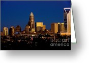City Scapes Framed Prints Greeting Cards - Skyline at dusk Greeting Card by Patrick Schneider