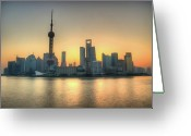The Bund Greeting Cards - Skyline At Sunrise Greeting Card by Photo by Dan Goldberger