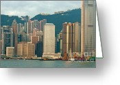 Peak One Greeting Cards - Skyline from Kowloon with Victoria Peak in the background in Hong Kong Greeting Card by Sami Sarkis
