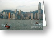 Peak One Greeting Cards - Skyline from Kowloon with Victoria Peak in the background Greeting Card by Sami Sarkis