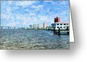 Florida Bridge Mixed Media Greeting Cards - Skyline Ft. Myers Greeting Card by Florene Welebny
